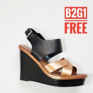 B2g1free Bronze/ black faux leather wedge sandals
